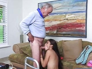 the brunette girl bribes her step-father